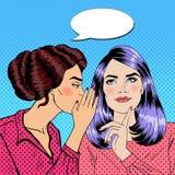 Secret de chuchotement de jeune femme à son ami Art de bruit Photos stock