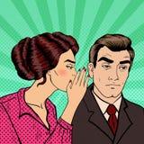Secret de chuchotement de jeune femme à son mari Art de bruit Images stock