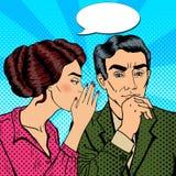 Secret de chuchotement de jeune femme à son mari Art de bruit Photos libres de droits