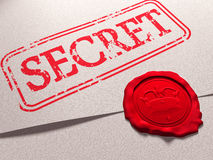 Secret document. Illustration of a secret document with a wax seal Royalty Free Stock Image