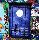 Secret door new moon darkblue. Secretdoor moon cat door darkblue Stock Image