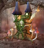 The secret elf place inside the forest. Fairy tale bizarre fantasy castle in a glade with mushrooms all around - 3D illustration royalty free illustration