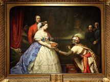 The secret of England greatness, by Thomas John Barker. The Secret of England`s Greatness is a portrait by Thomas Jones Barker of Queen Victoria meeting an royalty free stock photography