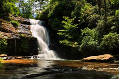 Secret Falls On Big Shoals Trail In North Carolina. Secret Falls is not much of a secret even though the locals might want to keep it this way. Get there early royalty free stock images