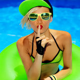Secret Fashion Lady Hot party in the pool Royalty Free Stock Photo