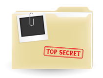 Secret file. The secret files, closed yellow folder with stamp and photo on the white background Stock Photos