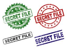 Scratched Textured SECRET FILE Seal Stamps. SECRET FILE seal prints with corroded surface. Black, green,red,blue vector rubber prints of SECRET FILE label with vector illustration