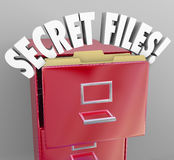 Secret Files Filing Cabinet 3d Words Confidential Classified Inf. Secret Files words in a red filing cabinet to illusrate confidential, classified information Stock Image