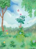 Secret garden. Summer scenery - hidden wild garden Stock Photo