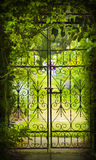 Secret Garden and Iron Gate. A gate hides a green, flower-filled garden Stock Photo