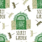 Secret garden Seamless pattern with dragonflies. Sketch style Royalty Free Stock Photos