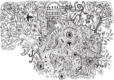 Secret garden. Secret garden on white. Hand drawn illustration Royalty Free Stock Images