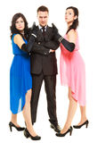 Secret investigation with two women and one man Royalty Free Stock Image
