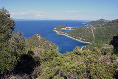 Secret laguna. From the hill of Lastovo stock photos