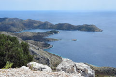 Secret laguna from the hill of Lastovo. Secret laguna from the hill royalty free stock photos