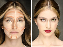 The Secret  of Makeup – Before- After Stock Photography