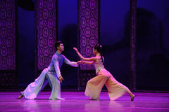 A secret meeting of lovers-The second act of dance drama-Shawan events of the past. Guangdong Shawan Town is the hometown of ballet music, the past focuses on Royalty Free Stock Photo