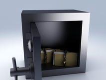Secret padlock folder. In steel safe box, 3d illustration Royalty Free Stock Image