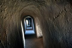 Secret passage inside a medieval fort royalty free stock photography