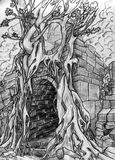 Secret passage - pencil sketch. Secret passage to some dungeon overgrown with trees. Pencil drawing, sketch Stock Photography