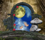 The secret passage series - a romantic moon. A wonderful enchanted background: a secret, romantic, passage in the middle of the forest Royalty Free Stock Photo