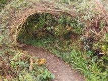 Secret path, tunnel through undergrowth on footpath. Brambles et Stock Photography