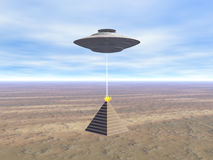 Secret of pyramid. Ufo over egypt pyramid Royalty Free Illustration