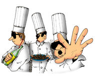 Secret recipe. These chefs are guarding a very secret dish Royalty Free Stock Photos