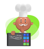 Secret Recipes Mobile App Chef Illustration. A chef sharing with you his secret recipes on his mobile Stock Images