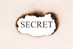 Secret revealed word text. Appearing behind burned paper Stock Photo