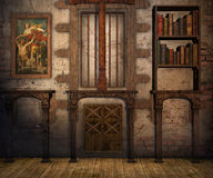Secret room. Secret wall and room background 3D illustration Stock Photography
