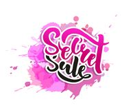 Secret Sale offer poster banner vector illustration. Text with handwritten lettering for ad, promo, web design. Bright sketch with vector illustration