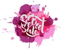 Secret Sale offer poster banner vector illustration. Text with handwritten lettering for ad, promo, web design. Bright sketch with stock illustration