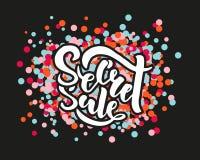 Secret Sale offer poster banner vector illustration. Text with handwritten lettering for ad, promo, web design. Bright sketch royalty free illustration