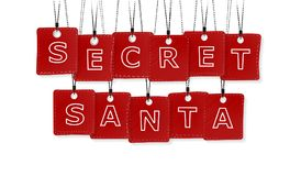Secret Santa. Text with black and red labels isolated on white background Stock Image