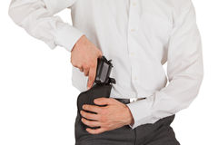 Secret service agent with a gun Royalty Free Stock Photography