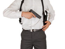 Secret service agent with a gun Stock Photo