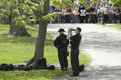 Secret Service agents. Scanning crowd in Williamsburg Virginia on May 4,. 2007 in anticipation of the arrival of Her Majesty Queen Elizabeth II and Vice royalty free stock image