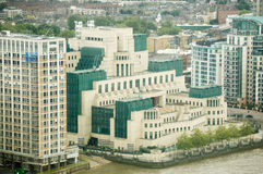 Secret Service Headquarters, London. Headquarters of MI6, the UK's Secret Service.  Banks of the River Thames in Lambeth, Central London Royalty Free Stock Images