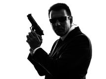 Secret service security bodyguard agent man silhouette Royalty Free Stock Image