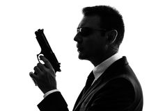 Secret service security bodyguard agent man silhouette Stock Photos