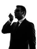 Secret service security bodyguard agent man silhouette Stock Photos