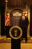 Secret Service Wax Figure. A wax figure of a Secret Service agent, behind the podium of the President of the United States, at Madame Tussauds in New York City stock photo