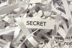 Secret shredded business documents. A pile of shredded or destroyed business documents labeled secret Stock Photo