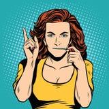 Secret silencieux de serrure de tirette de bouche de fille illustration de vecteur