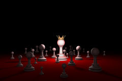 Secret society. Sect. Leader (chess metaphor). 3D render illustr. Great authority. Leader. Chess composition. Available in high-resolution and several sizes to Stock Photo