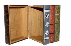 Secret Stash. A set of books hallowed out for hiding various objects Stock Images