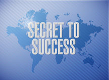 Secret to success world map background sign Stock Image