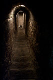 Secret tunnel. A secret passage connecting two bedrooms at different floors in Dracula's Castle near Bran Pass. Massive stone walls forming a vault as well as royalty free stock photos