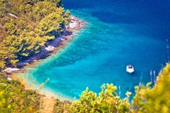 Secret turquoise beach yachting and sailing destination. Island of Dufi otok, Dalmatia, Croatia Royalty Free Stock Photos